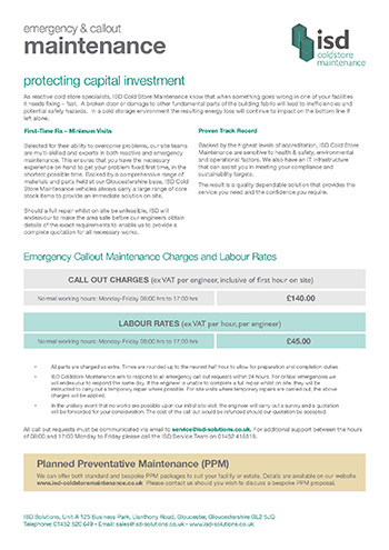 ISD Coldstore Maintenance Emergency Callout Brochure